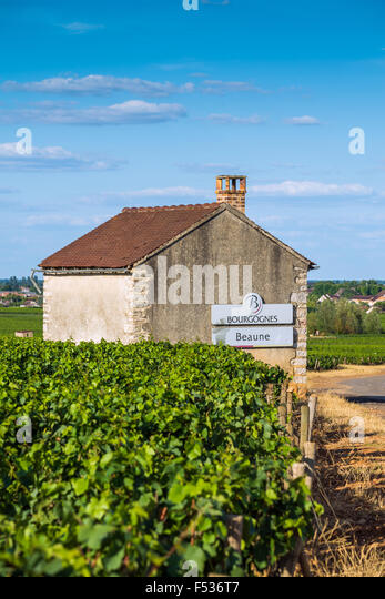 street sign pommard,cote de beaune, burgundy, france, EU, Europe - Stock Image