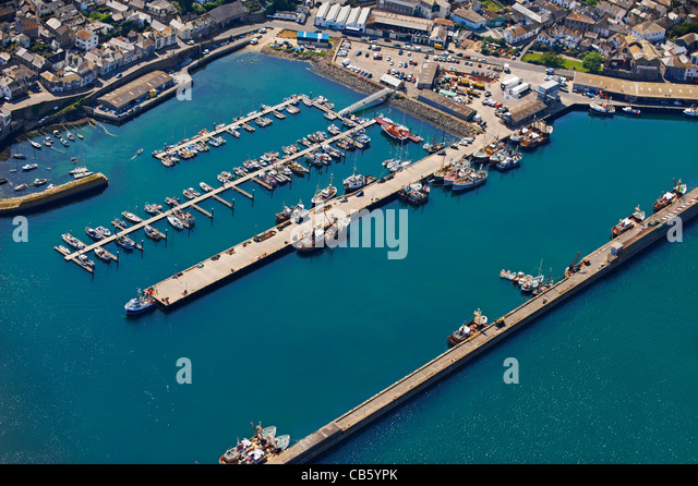 Aerial view of harbor with fishing boats - Stock Image