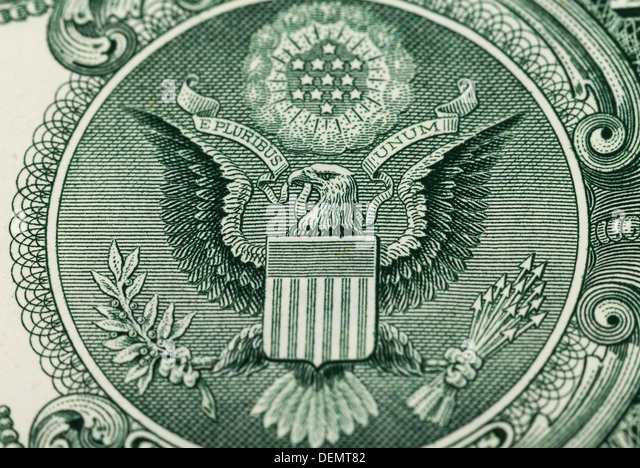 Great Seal of the United States on the reverse of a US Dollar Bill - Stock Image