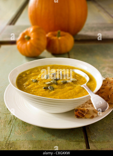 Pumpkin & Bacon Soup - Stock Image