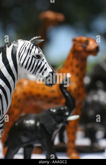 Florida, animal carvings, art, zebra, elephant, leopard, wood, painted, - Stock Image
