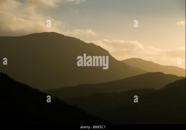 Sunset on Cadair Idris, near Barmouth, Snowdonia, North Wales, UK - Stock Image