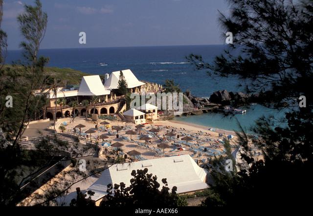 Bermuda Pink Beach Sunning Fairmont Southampton Bermuda Resort - Stock Image
