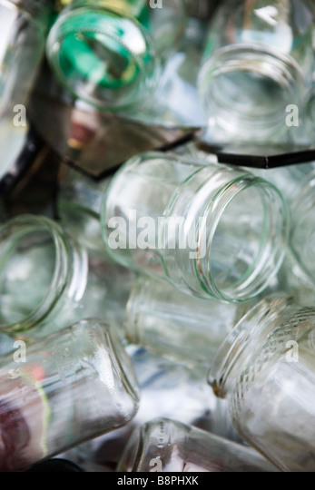 Empty glass containers, full frame - Stock-Bilder