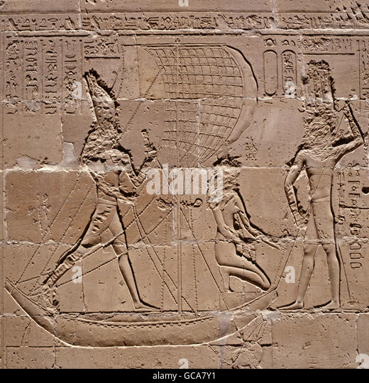 fine arts, ancient world, Egypt, Horus temple, pharao in boat, during hippopotamus hunt, Edfu, - Stock Image