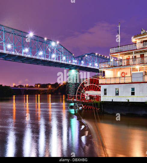 Showboat on the Tennessee River in Chattanooga, Tennessee. - Stock-Bilder