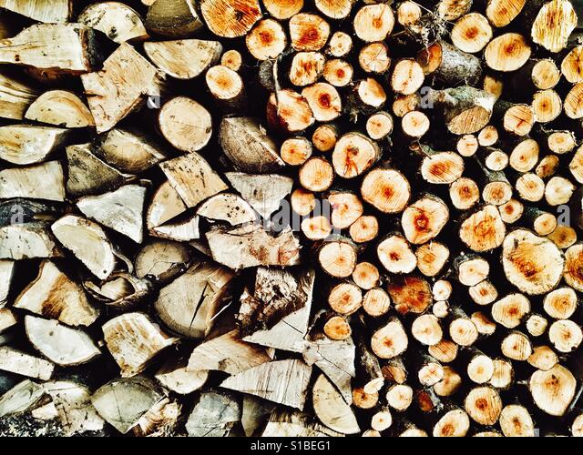 Firewood logs stacked in woodshed - Stock Image