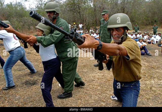 Army reservists receive military training in Charallave, Venezuela, March 25, 2006. Photo/Chico Sanchez - Stock Image
