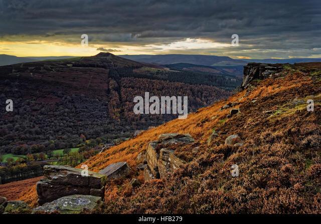 UK,Derbyshire,Peak District,Bamford Edge and Win Hill - Stock Image
