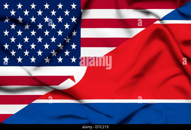 United States of America and North Korea waving flag - Stock Image