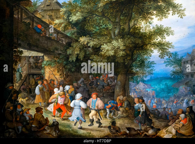 Peasants Dancing outside a Bohemian Inn, by Roelant Savery, circa 1610, Royal Art Gallery, Mauritshuis Museum, The - Stock Image