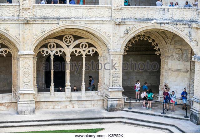 Lisbon Portugal Belem Mosteiro dos Jeronimos Jeronimos Monastery Gothic Manueline architecture UNESCO World Heritage - Stock Image