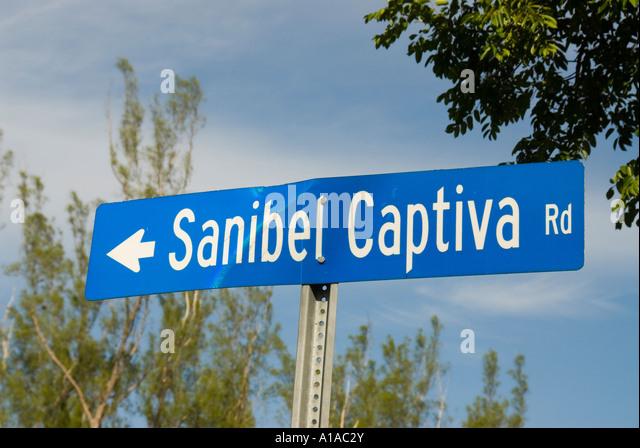 Florida Sanibel Island street sign - Stock Image