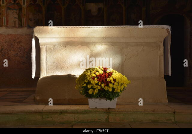 Altar, Aubdignon church, Landes, France - Stock Image