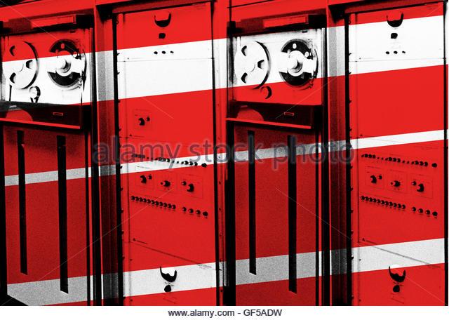 Vintage computer data centre grainy retro - Stock Image