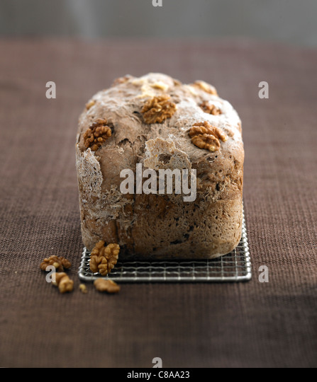 Wholemeal walnut bread loaf - Stock Image