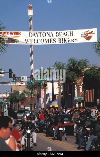 Daytona Beach Florida fl bike week welcome banner across main street - Stock Image