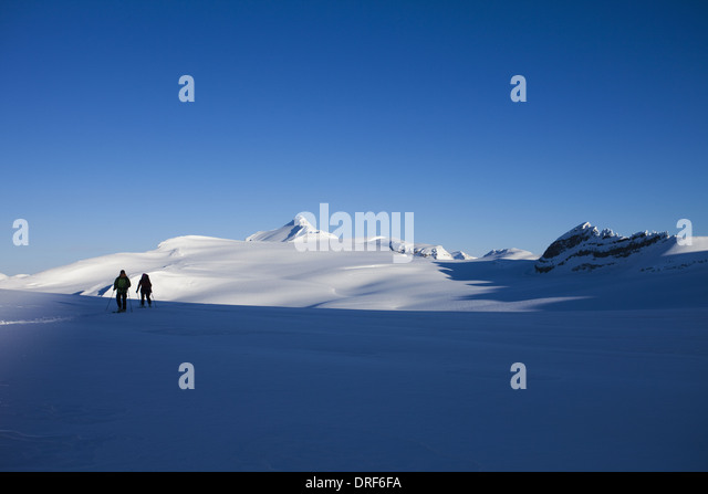 Alberta Canada. Two skiers on slope Wapta Traverse Alberta Canada - Stock Image