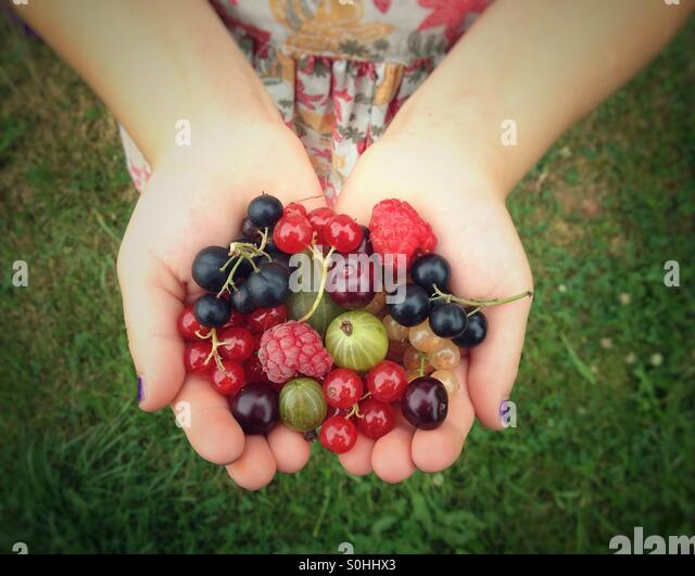 Fruits in child hands - Stock-Bilder