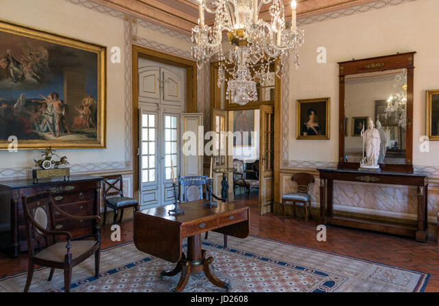 Ornate drawing room in the National Palace of Queluz - Lisbon - Portugal. - Stock Image