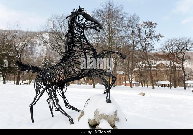 Wotan's eight-legged horse Sleipnir, figure on the Mythenweg Germanic myth road, Thale, Harz, Saxony-Anhalt - Stock Image