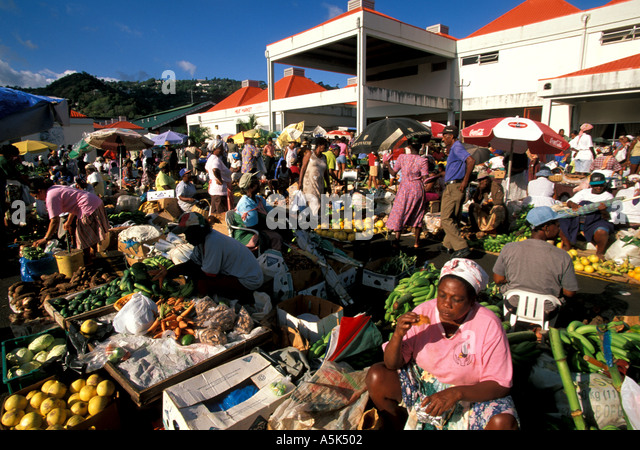 St Lucia Castries the Saturday Market - Stock Image