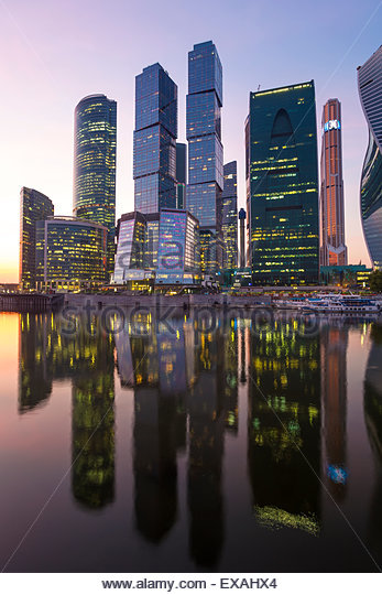 Skyscrapers of the Modern Moscow-City International business and finance development, Moscow, Russia, Europe - Stock Image