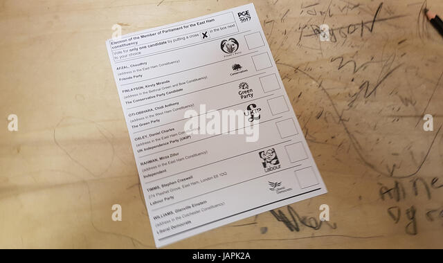 London, UK. 8th June, 2017United Kingdom -  Election ballot card for the  East Ham Member of Parliamentary elections - Stock Image