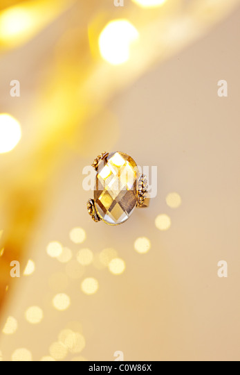 sparkling evening ring in setting - Stock Image