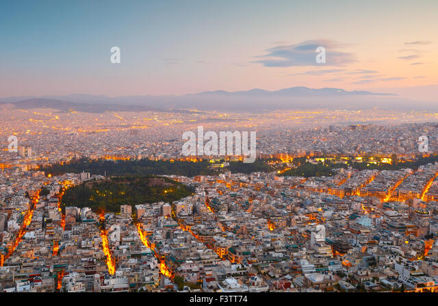 View of Athens and Strefi Hill from Lycabettus Hill, Greece. - Stock Image