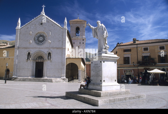 Norcia Town square,piazza, Umbria Italy - Stock Image