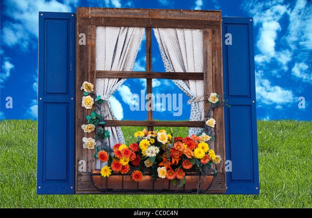 Country Style Windows : Window box planter stock photos
