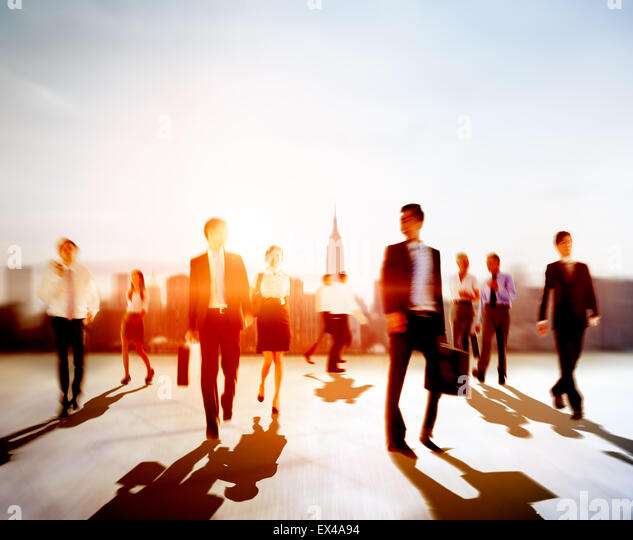 People Commuter Walking Rush Hour Cityscape Concept - Stock Image