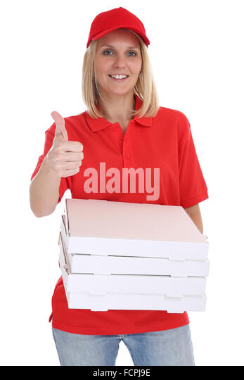 Pizza delivery woman order delivering thumbs up job young isolated on a white background - Stock Image
