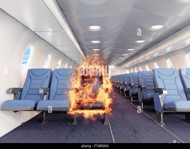 fire in the airplane cabin. 3d creative concept - Stock Image