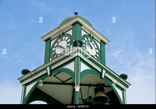 Belize City tourist attraction landmark Supreme Court Building with domed clock tower historic landmark tourist - Stock Image