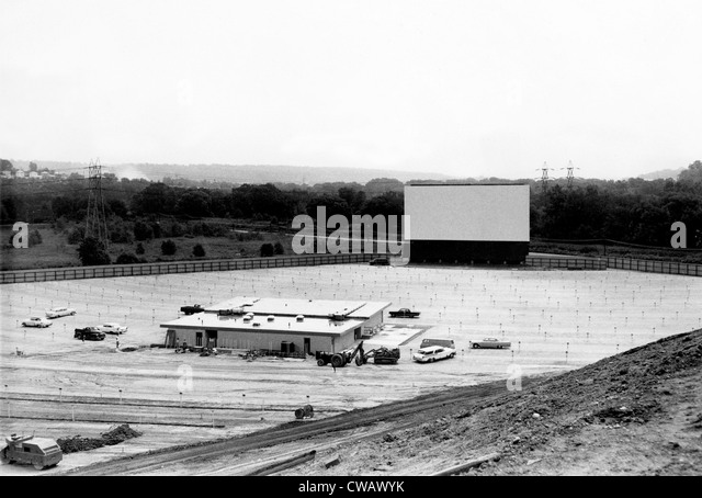 Drive-in movie theater under construction in Cleveland, Ohio, 1957. Courtesy: CSU Archives / Everett Collection - Stock Image