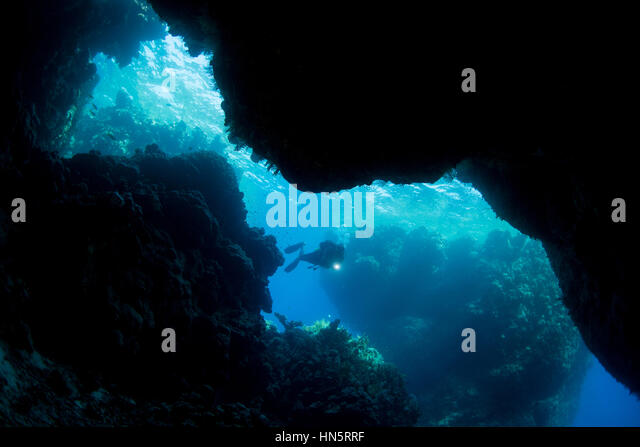 Scuba diver at St. John's Caves, Red Sea - Stock-Bilder