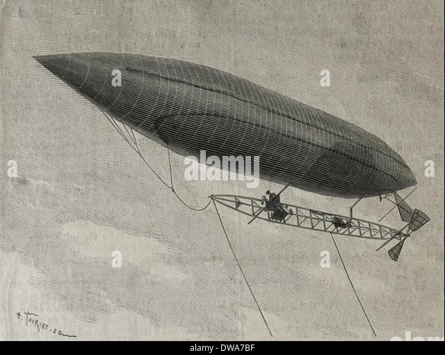 Alberto Santos-Dumont (1873-1932). Brazilian aviation pioneer. Flying dirigible. Engraving. - Stock Image