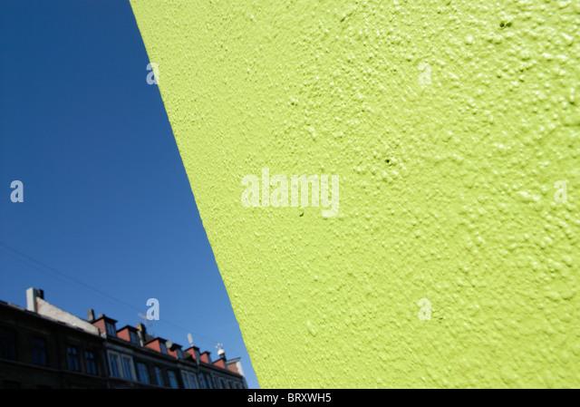 LIME GREEN WALL - Stock Image