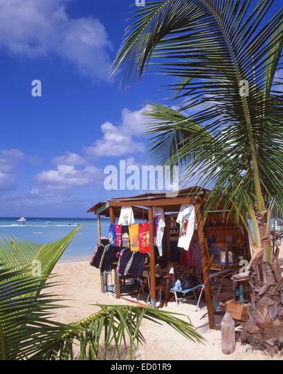 Beach clothing stall, Jolly Beach Resort, Saint Mary's Parish, Antigua, Antigua and Barbuda, Lesser Antilles, Caribbean - Stock Image