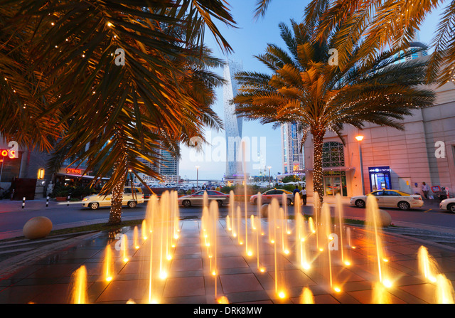 Dubai Marina, fountain - Stock Image
