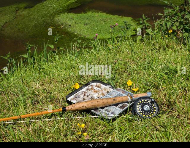 Mayflies and an old split cane fishing rod on the bank of a river - Stock Image