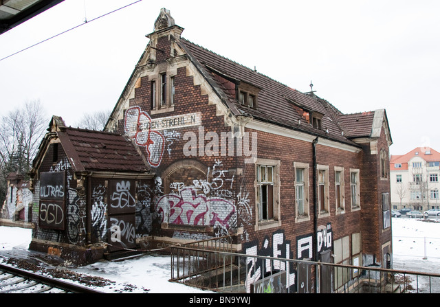 The old railway station at Strehlen, Dresden, Germany. - Stock Image