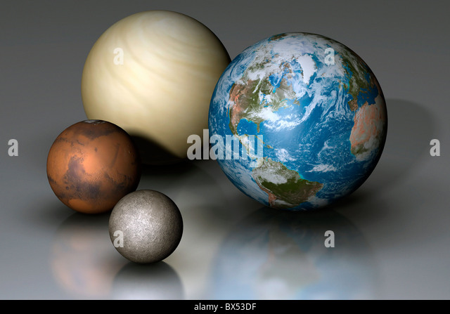 Terrestrial Planets Compared - Stock Image
