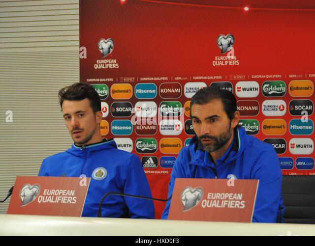 From left soccer player Matteo Vitaioli and coach Pierangelo Manzaroli of San Marino speak during the press conference - Stock-Bilder