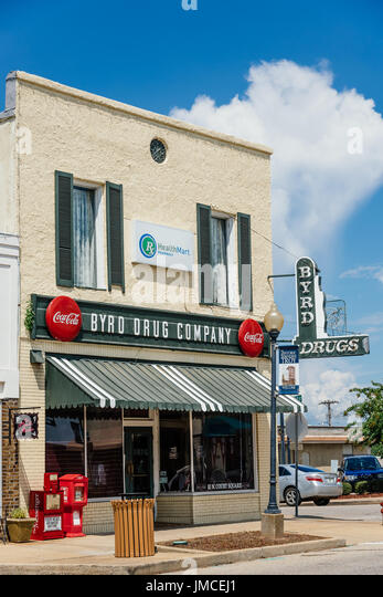 Byrd Drug Company retains the old look and feel of a local drug store from the 1940's to 1950's in the United - Stock Image