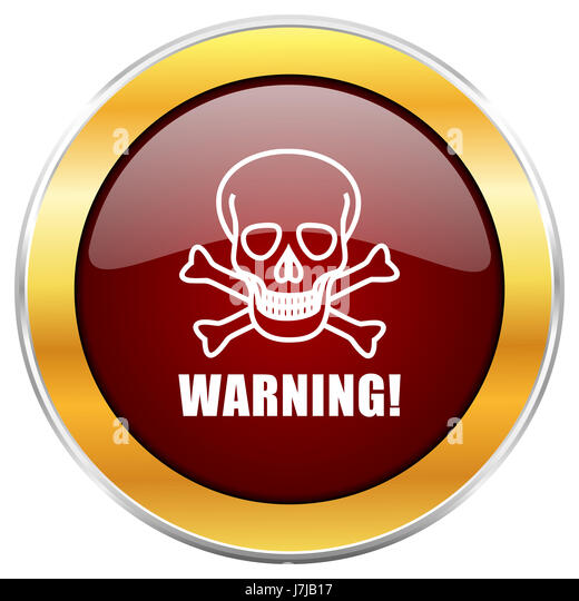Warning skull red web icon with golden border isolated on white background. Round glossy button. - Stock Image