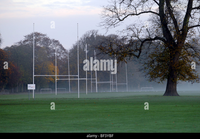 Rugby posts on a misty morning. - Stock Image