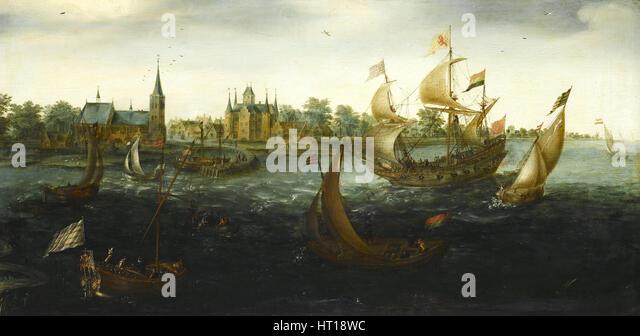 The Eendracht before IJsselmonde, 1618. Artist: Aert Anthonisz., (Aert van Antum) (ca. 1580-1620) - Stock Image